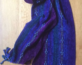 Handwoven Blue,Purple,Green Chenille Scarf with Blue Ribbons