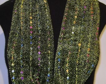 Handwoven Infinity Scarf -Lime Green & Black Chenille with Colorful Ribbons