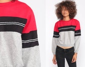 Striped Sweatshirt 80s Sweatshirt Red Grey Retro Sweatshirt Cropped Slouchy Pullover Color Block Shirt Vintage Extra Small xs