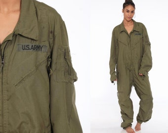 3256922cafc2 90s Flight Suit Military Jumpsuit Army Coveralls Zip Up Grunge Pantsuit  Vintage Long Sleeve Romper Olive Green Large Regular R