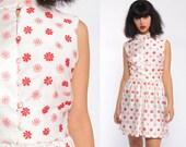 70s Mini Dress Mod FLORAL Print High Waisted DAISY Boho Flower Power Button Up 1970s Hippie Vintage Red White Sleeveless Bohemian Medium