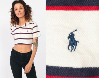 30f900f900 Cropped Polo Shirt Ralph Lauren Shirt Striped Cropped Shirt Crop Top 90s  Polo Sport Red Blue White Vintage 80s Retro Normcore Extra Small xs