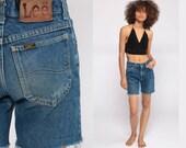 Denim Cutoffs Shorts Cut Off Shorts 80s Denim Shorts LEE Jeans Cutoff Jean Shorts High Waisted Cutoffs Blue Vintage Extra Small xs 00 24