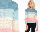 Sheer Pastel Sweater 80s Striped Sweater Baby Blue Pink Knit Boatneck Pullover Retro Kawaii 1980s Vintage Small Medium