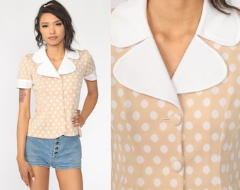 sweet puff sleeves /& lace details sky blue w tiny white polka dots Vintage blouse