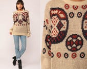 Tribal Sweater 80s Boho Geometric Print Slouchy 70s Bohemian Tan Vintage Pullover Jumper Acrylic Knit Abstract Aztec Large