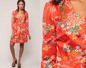 70s Hippie Dress FLORAL Print Mod Mini High Waisted Bohemian Button Up Orange Long Sleeve Vintage 1970s Boho Retro Polyester Medium