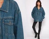 Blue Jean Jacket 80s Denim Jacket Trucker Stone Wash 1980s Vintage Biker 90s Grunge Hipster Coat Extra Large xl
