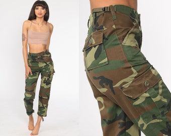 Vintage Brown Green JUSTB Army Camouflage Trousers Bottoms Pants Size S