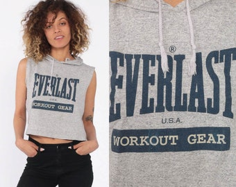 11f416fb782 90s Everlast Shirt Hoodie T Shirt Gym Shirt Hooded Top Sleeveless Workout  Crop Top Streetwear Retro T Shirt Vintage Grey Small