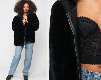 4fe2ee656 Fake Fur Coat HOODED Coat 80s Faux Fur Jacket Black Hoodie Jacket 1980s  Boho Hood Vegan Bohemian Vintage Hipster Zip Up Extra Large xl