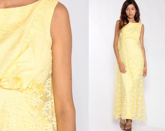 3d2a98b63a3 Lace Maxi Dress Cocktail Dress 60s Party BOW Prom Dress Yellow Sleeveless  Empire Waist 1960s Mod Sixties Vintage Formal Mad Men Extra Small
