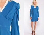 Babydoll Mini Dress 70s PUFF Sleeve Dress Dolly Blue Lace Empire Waist 60s Mod Dress Blue 1970s Vintage Lolita V Neck Extra Small xs
