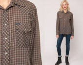 Wrangler Shirt 80s WESTERN Shirt Plaid Shirt Pearl Snap Shirt Brown Plaid Shirt Long Sleeve Checkered Button Up Vintage Extra Large xl