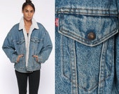 Levi Sherpa Jacket -- USA Denim Jacket Levis Shearling Jacket Distressed Jean Jacket Trucker 80s Oversized Coat Fleece Blue Extra Large xl L