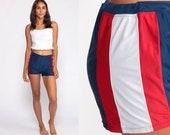Swim Shorts Red White Blue Hot Pants Bikini Bottoms 80s BOYSHORT Striped Swimsuit High Waist Vintage Hipster 90s Hotpants Medium Large