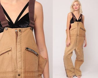 e9fd17d2b6 Work Overalls Mens Workwear Coveralls Baggy Pants Cargo Dungarees QUILTED  Tan Key Imperial Pants Long Wide Leg Bib Vintage Extra Large 2xl