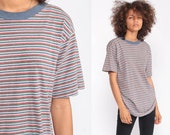 Striped TShirt 80s T Shirt Grey-Blue Grunge Hipster Retro Tee Vintage Ringer Minimalist Normcore 1980s Short Sleeve Small