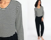 Stirrup Jumpsuit 80s Jumpsuit TAPERED Pants Black Pantsuit White Striped 90s Vintage Long Sleeve Romper Pants Small Medium