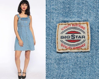 9692932580 Overall Dress Denim Jumper Dress 90s Mini Jean Sheath 1990s Grunge Pocket  Blue Normcore Vintage Minidress Sleeveless Smock Extra Small xs