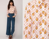 Floral Shirt Boho Blouse 70s Disco Shirt Button Up Top Mod Bohemian White Yellow 1970s Hippie Vintage Hipster Long Sleeve Medium
