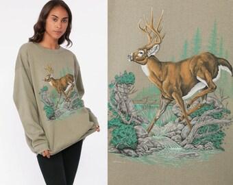 1f2f939b987d8 90s Deer Sweatshirt Animal Sweatshirt 80s Jumper Pullover Wildlife Shirt  Buck 1990s Hipster Taupe Graphic Vintage Slouchy Medium Large