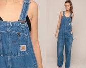 Denim Carhartt Overalls Men's Bib Jean Overalls Denim Pants Dungarees GRUNGE Blue Pants Baggy Long Vintage Coveralls Extra Large xl