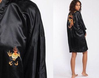 b54359dfc5 90s Asian Kimono Robe Jacket -- Black Silk Robe DRAGON Print Dressing Gown  1990s Bohemian Wrap Boho Hippie Small Medium Large xl