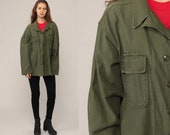 Military Shirt Army Olive Drab Green 80s Commando Field Utility Button Up Grunge Cargo Vintage Camo Hipster Cotton Extra Large xl