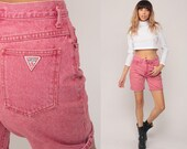 Guess Jean Shorts 80s Denim Mom Shorts High Waisted Rise 1980s Jeans Red Shorts Vintage Bermuda Pink Small