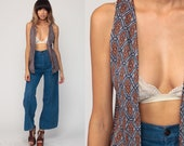 Hippie Vest Sleeveless Jacket 70s Boho Long Grey 1970s Bohemian Vintage Festival Geometric Extra Small xs