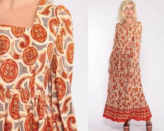 e76de6e338 70s Maxi Dress Boho Paisley Print PUFF Sleeve 1970s Hippie Bohemian Empire  Waist Festival Vintage Romantic Red Yellow Extra Small xs