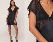 Black Nightgown Slip Dress Mini Babydoll Lingerie SATIN + CHIFFON Floral Sheer Vintage Empire Waist Cap Sleeve Small