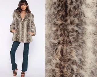 747ef78aca61 Leopard Faux Fur Coat 70s FUZZY Jacket Snow Leopard Furry Vegan Vintage  Bohemian Animal Disco 80s Hipster Boho Small