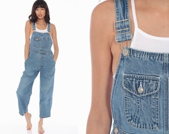 56394810e80b Denim Overalls Women 90s GRUNGE Suspender Pants Long Jean 1990s Normcore  Vintage Jumpsuit Petite Short Ankle Length Small