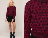 Geometric Sweater 80s Knit Jumper Sweater Boho Hipster Vintage Pullover Pink Purple Retro Retro Small Medium