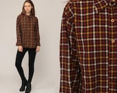 Pendleton Shirt Wool Plaid Shirt 80s Flannel Brown Plaid Shirt Gingham 1980s Lumberjack Button Up Long Sleeve Vintage Tartan Medium Large