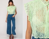 Sheer Lace Blouse Green Lace Shirt Boho Top 70s Lingerie Top RUFFLE Collar Mint Green OPEN FRONT Vintage Bohemian Small Medium Large xl