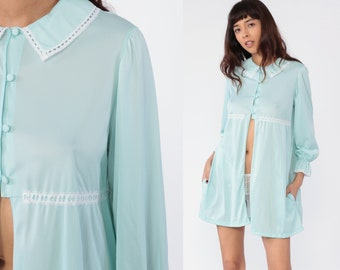 2ca5f420d 70s Lingerie Robe Pastel Bed Jacket Nightgown Pajama Dress PETER PAN COLLAR  Baby Blue Mini Nylon Nightie Boho Tent Vintage Button Up Medium
