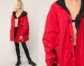 Marlboro Windbreaker Jacket 90s HOODIE Jacket Adventure Team Nylon Hooded Jacket Hood 1990s Red Vintage Extra Large xl