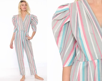 de82e45e26c 80s Striped Jumpsuit Tapered Puff Sleeve Cotton Pantsuit Romper Striped  Half Sleeve Deep V Wrap Pastel Striped Extra Small XS