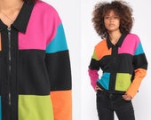 Color Block Jacket Neon Jacket 90s Jacket Black Hot Pink Lime Green Orange Zip Up Hipster Vintage 1990s Extra Large xl