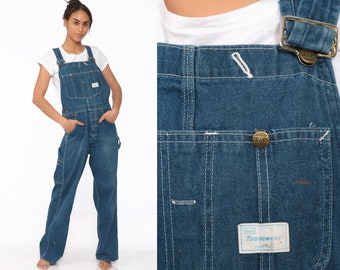 34a609f3083 90s Denim Overalls -- Dungarees Bib Sears Long Pants Workwear 1990s  Carpenter Suspender Jeans Coveralls Wide Leg BUTTON FLY Small