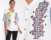 90s Tweety Bird Shirt -- Looney Tunes Shirt Streetwear Disney Shirt Baseball Button Up Shirt Graphic Warner Vintage Plaid Extra Large xl