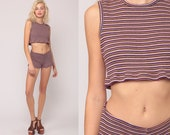 TWO PIECE Outfit Romper Set 90s Shorts Crop Top PLAYSUIT Striped Print Hotpants 1990s Retro Hot Pants Summer Outfit Small Medium
