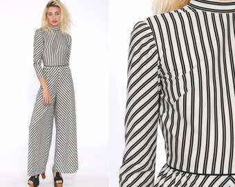 477ece521ea Bell Bottom Jumpsuit Black White STRIPED Pants Boho 70s KEYHOLE BACK Disco  Hippie Bohemian One Piece Vintage Pantsuit Extra Small xs xxs