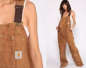 Carhartt Overalls Workwear Coveralls Baggy Pants QUILTED Cargo Dungarees Light Brown Suspender Pants Long Work Wear Bib Vintage Extra Large