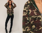 Hooded Sweatshirt 80s Camo Hoodie Sweatshirt Camouflage Army Sweatshirt Hood Zip Up 90s Olive Green Slouchy Military Vintage Small Medium
