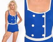 60s Sailor Swimsuit Blue One Piece Bathing Suit Nautical Swim Suit Pin Up Skirted Mod SCOOP BACK Vintage Pinup 1960s Extra Small xs 34 B