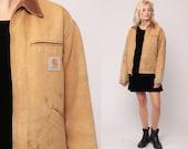 Carhartt Jacket 90s Streetwear Jacket Tan CORDUROY COLLAR Grunge Vintage Workwear Retro Heavy Cotton Hipster Work Wear Medium Large